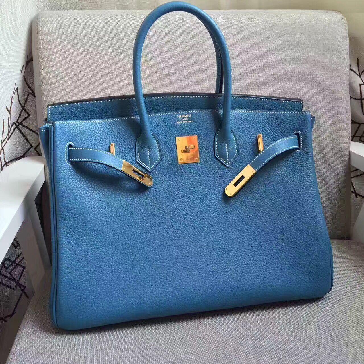 b181170a6bd Hermes Birkin 35cm cattle skin vein Handbags blue gold  RH0314 ...
