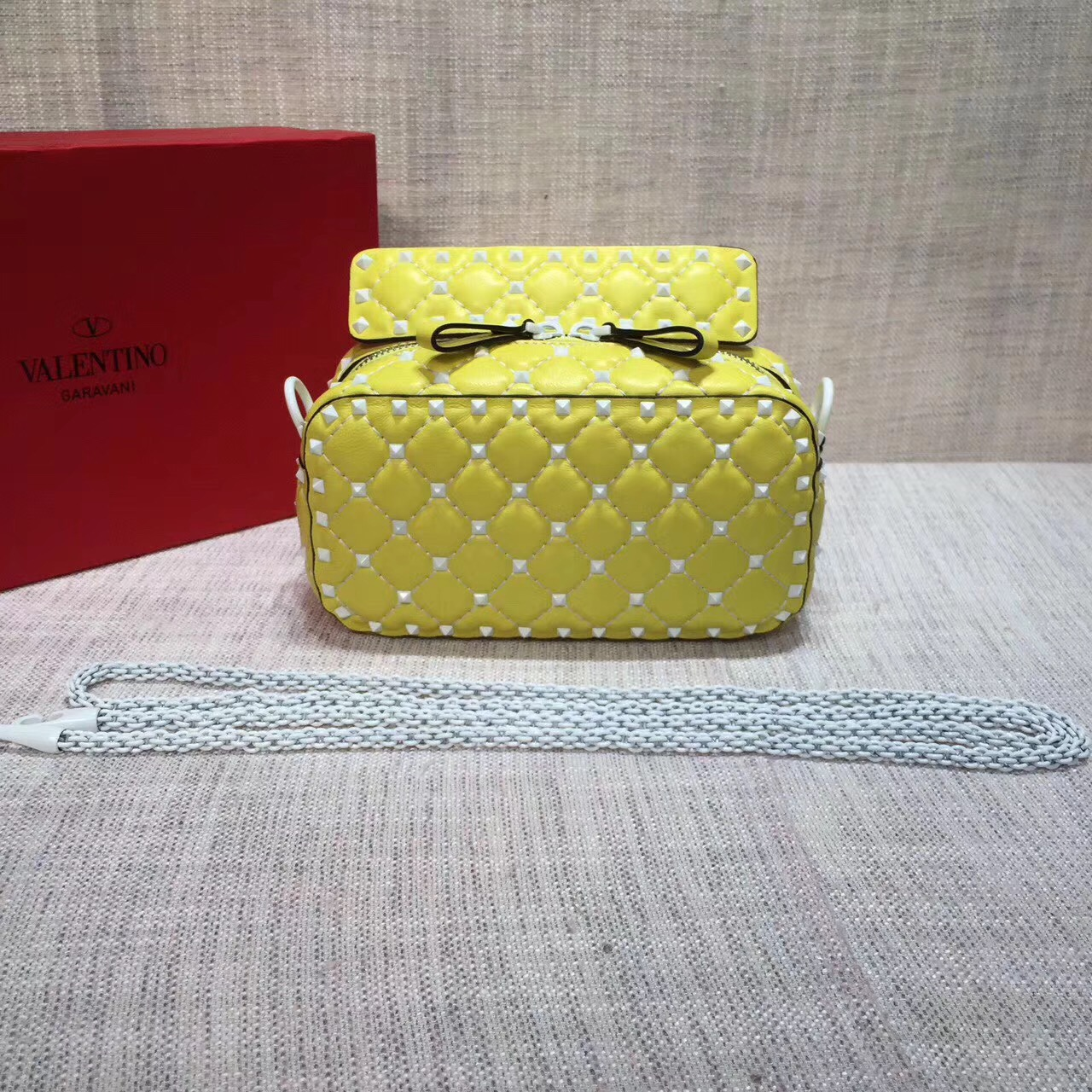 Valentino Free Rockstud Spike Camera Bag Yellow