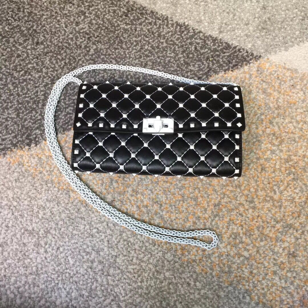 Valentino Free Rockstud Spike Chain Bag Black