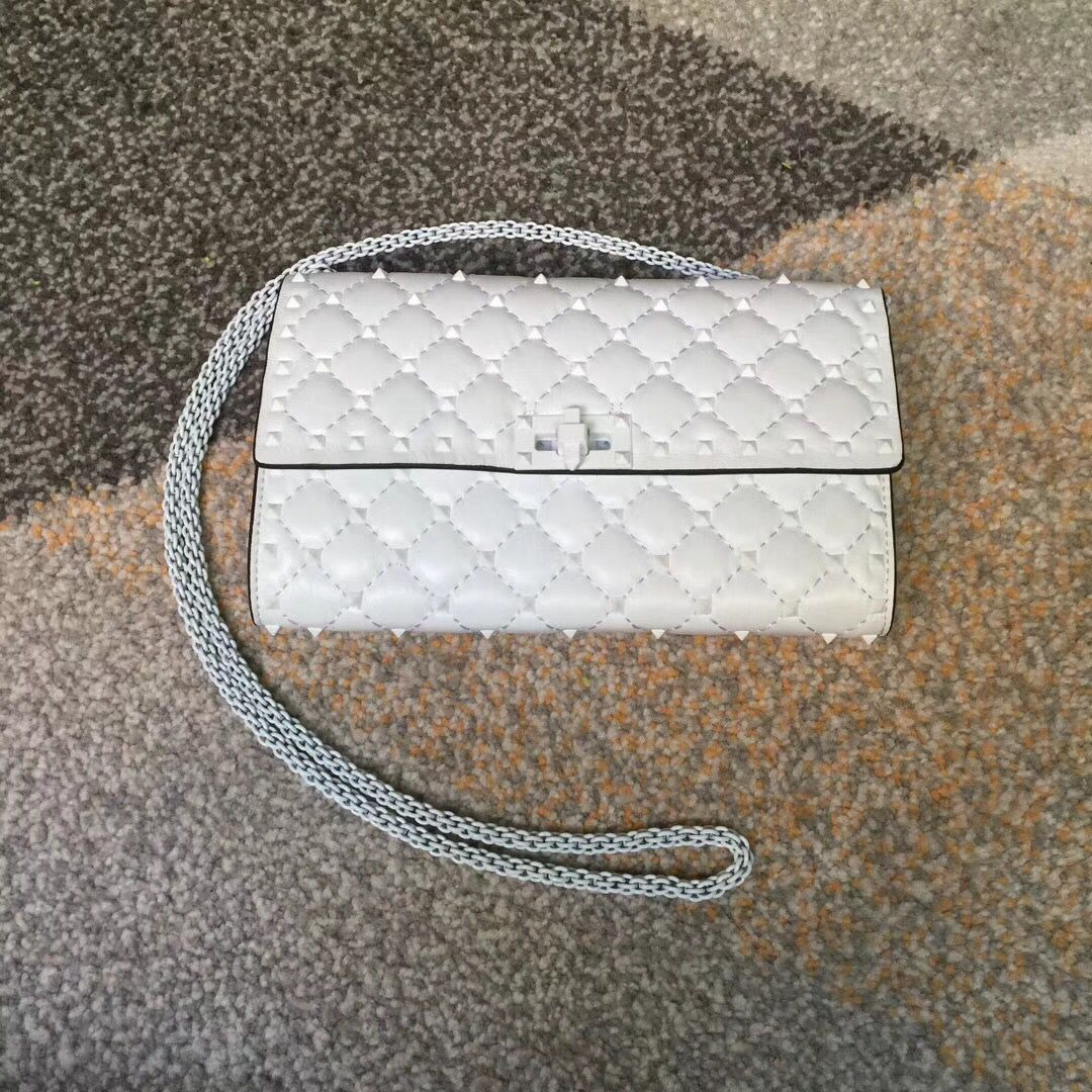 Valentino Free Rockstud Spike Chain Bag White