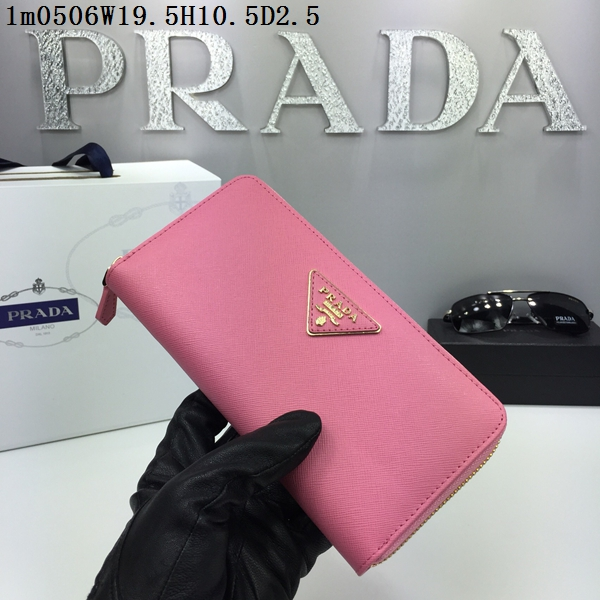 Prada Wallet Saffiano Leather 0506 Pink