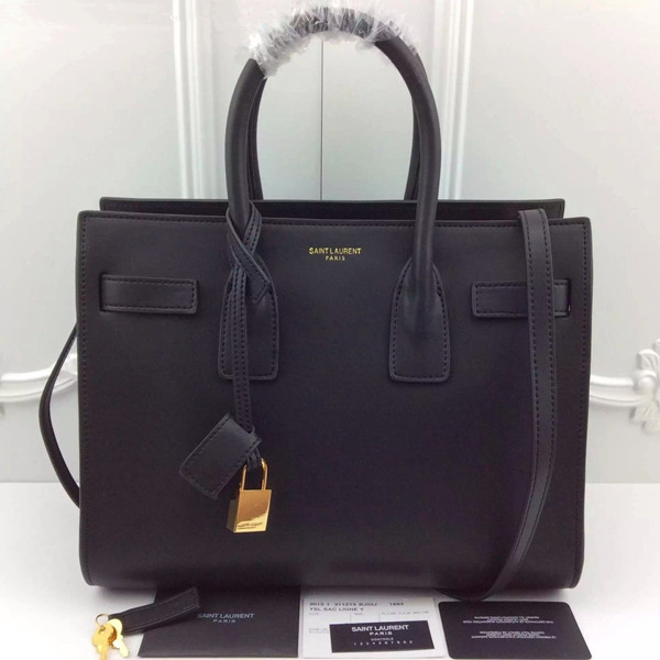 YSL Black Downtown Tote Cow Leather Bags