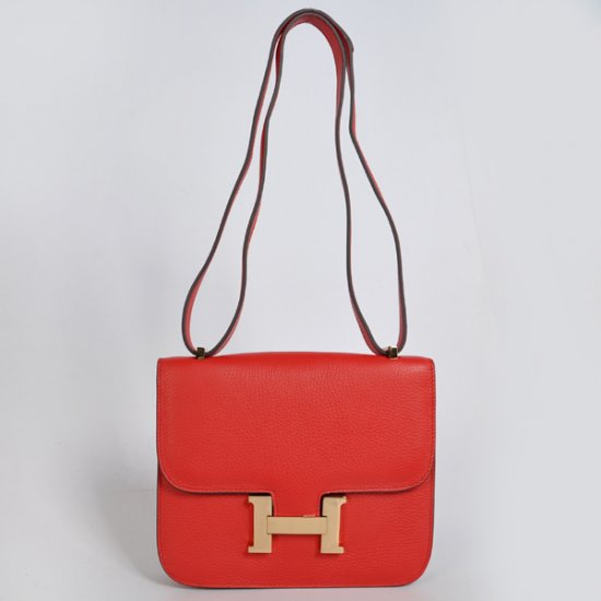 Hermes Constance Bag 23cm Togo Leather Red Gold
