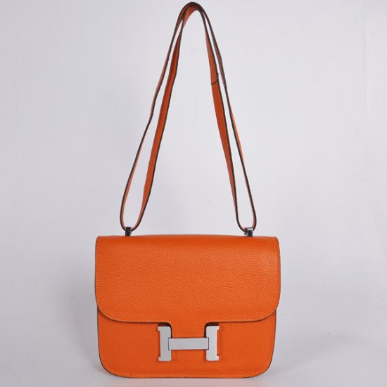 Hermes Constance 23cm Togo Leather Orange Silver