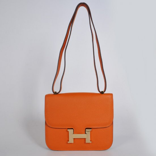Hermes Constance Bag 23cm Togo Leather Orange Gold