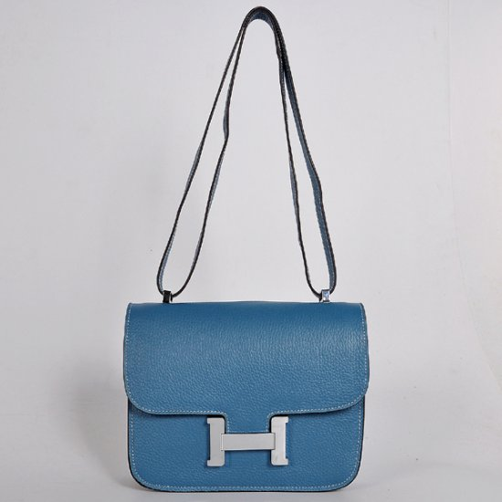 Hermes Constance Bag 23cm Togo Leather Blue Silver