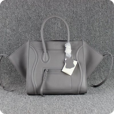 Celine Boston Grey Smooth Leather Tote Handbag