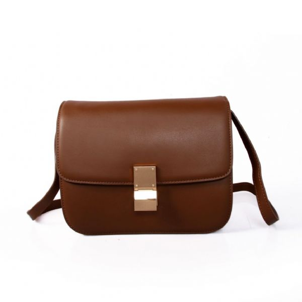 Celine Classic Box Calfskin Flap Bag Dark Brown
