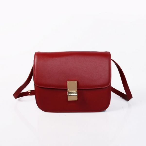 Celine Classic Box Calfskin Flap Bag Wine
