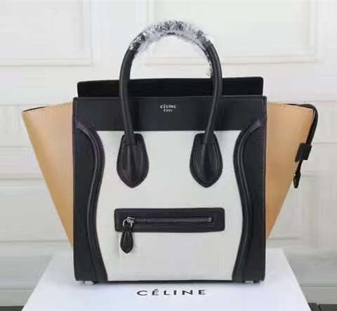Celine Large Luggage Tote Apricot Black White