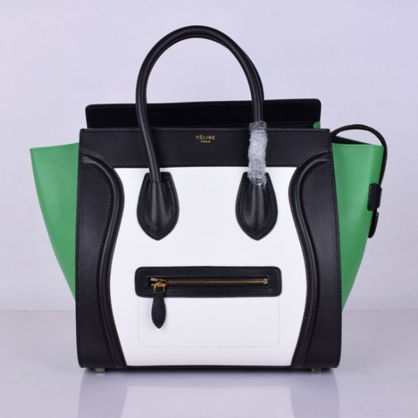 Celine Large Luggage Tote Black White Green Bags