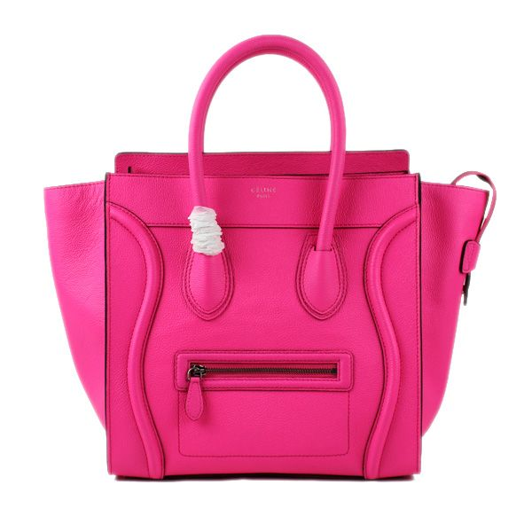 Celine Large Luggage Tote Neon Pink Leather Bag
