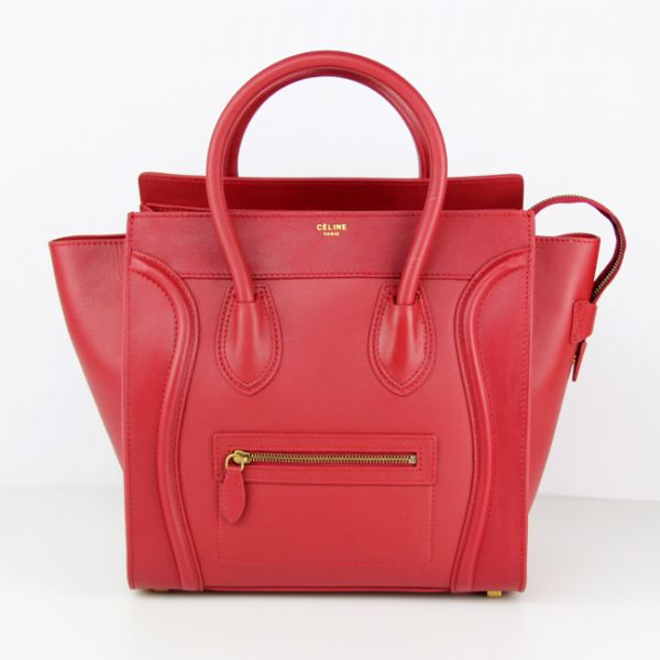 Celine Large Luggage Tote Red Leather Bags