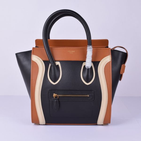Celine Medium Luggage Tote Black Brown White Bag