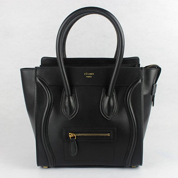 Celine Medium Luggage Tote Black Leather Bags