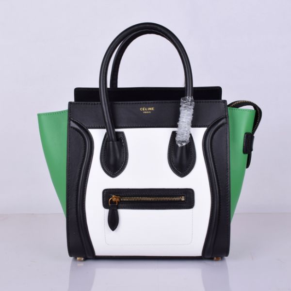 Celine Medium Luggage Tote Black White Green Bag