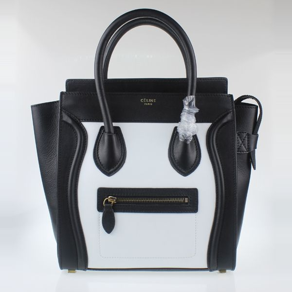 Celine Medium Luggage Tote Black White Handbags