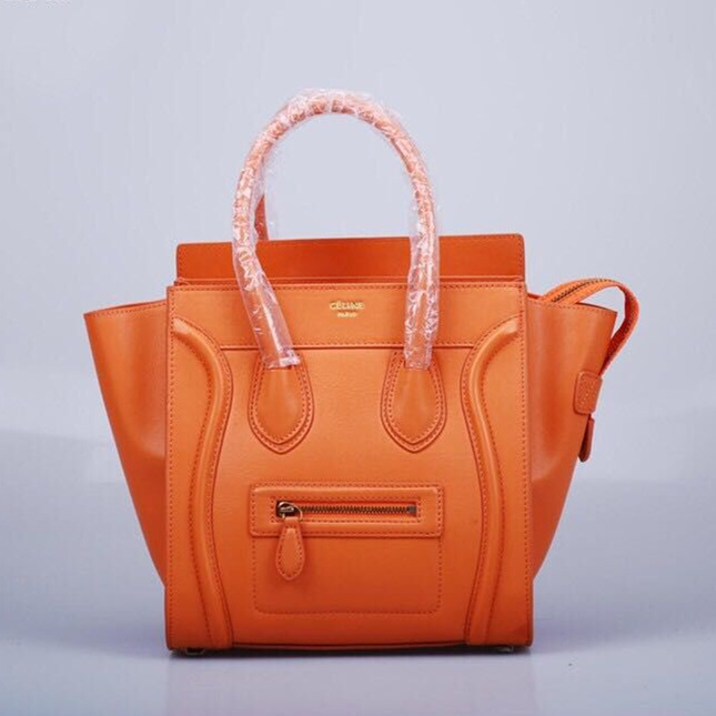 Celine Medium Luggage Tote Orange Gold Bag