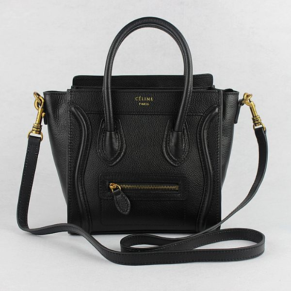 Celine Small Luggage Togo Leather Black Gold
