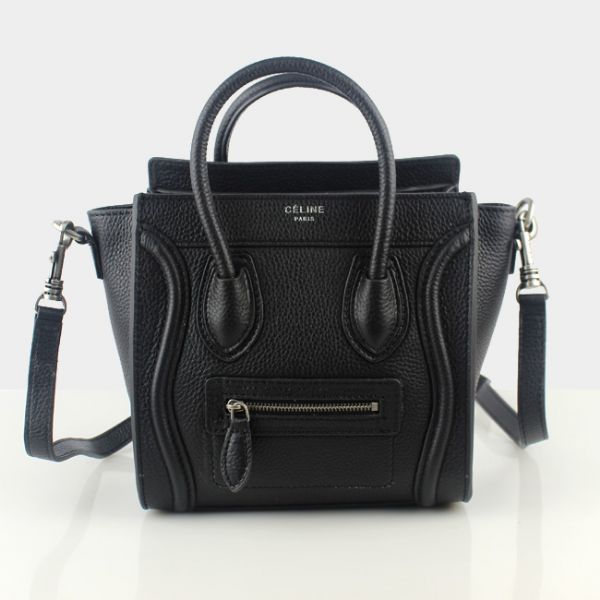 Celine Small Luggage Togo Leather Black Silver