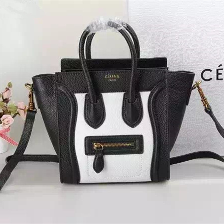 Celine Small Luggage Togo Leather Black/White Gold