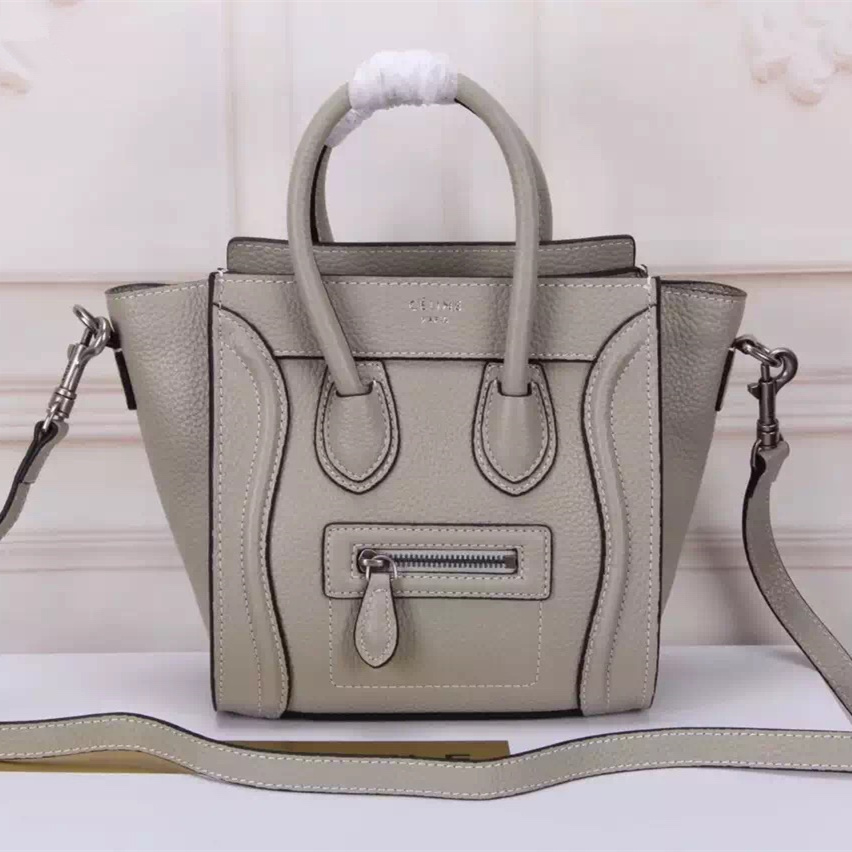 Celine Small Luggage Togo Leather Light Grey Silver