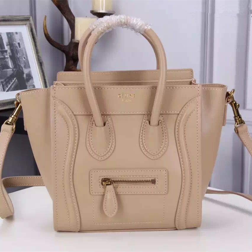 Celine Small Luggage Tote Bag Apricot 20cm