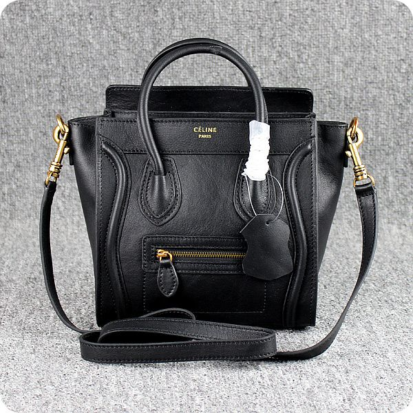 Celine Small Luggage Tote Black Leather Bags