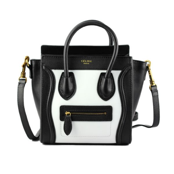 Celine Small Luggage Tote Black White Bags