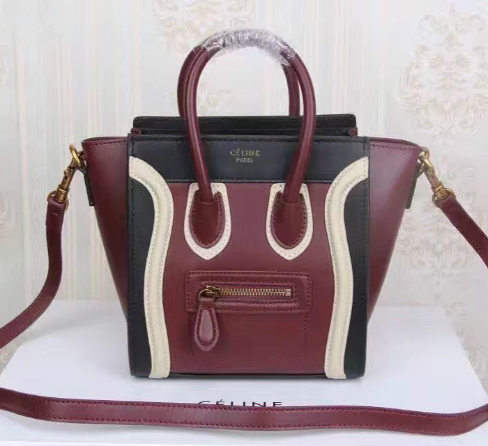 Celine Small Luggage Tote Black Wine White