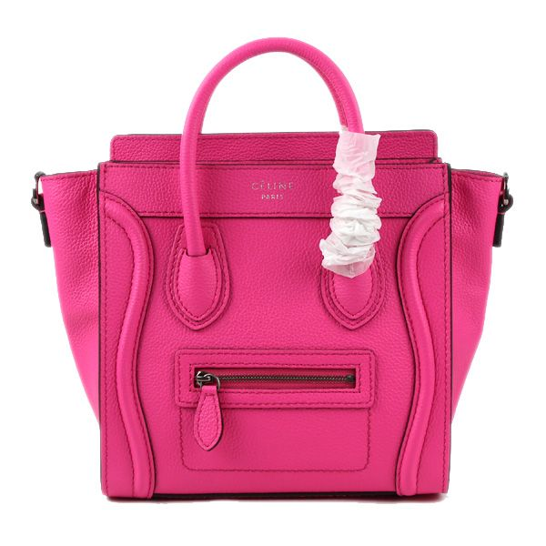 Celine Small Luggage Tote Neon Pink Leather Bag