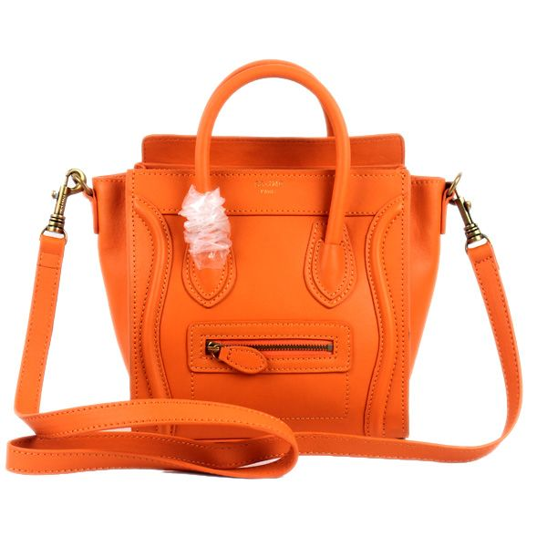 Celine Small Luggage Tote Orange Leather Bag