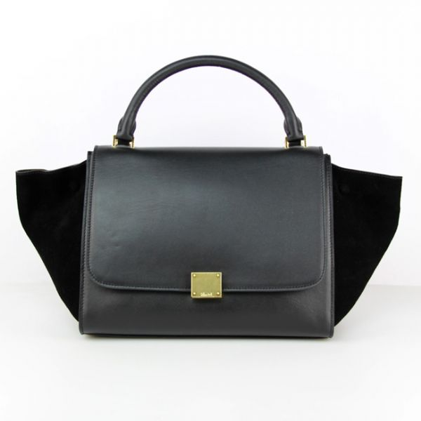 Celine Black Classic Trapeze Suede Leather Bag