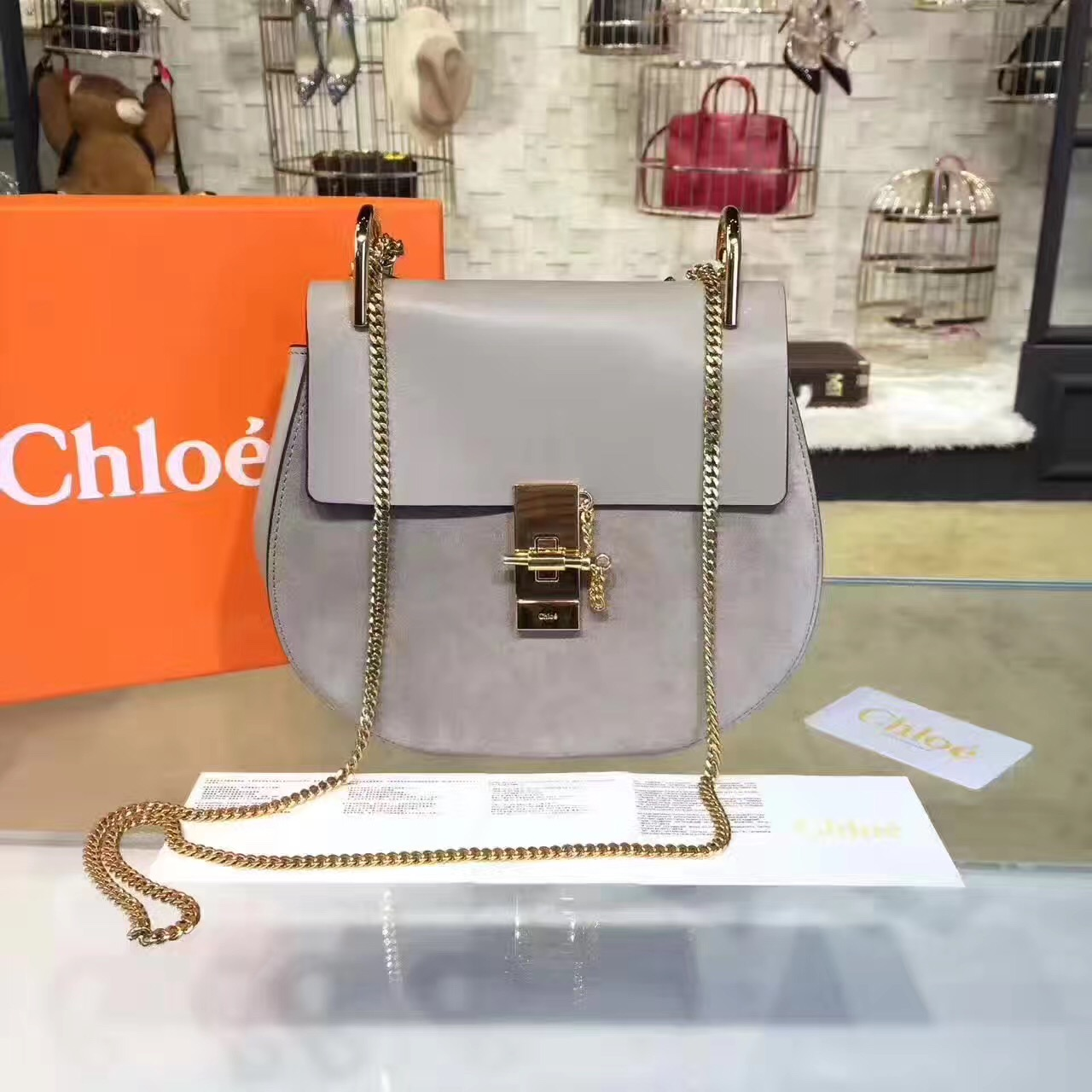 Chloe Drew Crossbody Bag Large 23cm Grey Suede