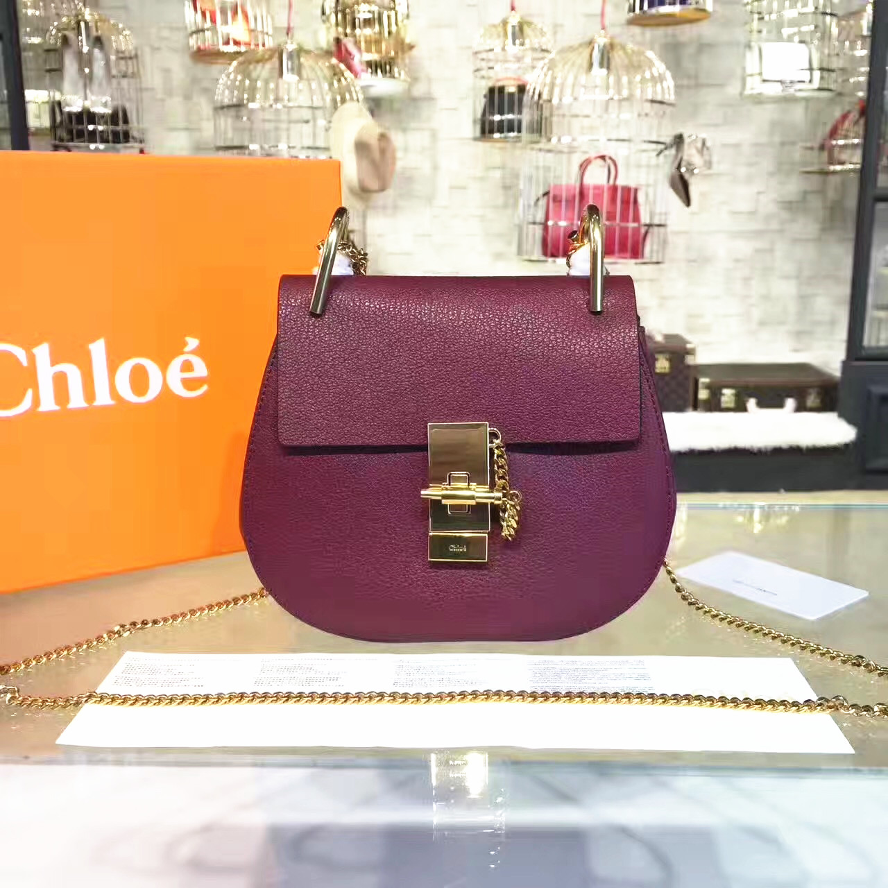 Chloe Drew Crossbody Bag Small 19cm Burgundy
