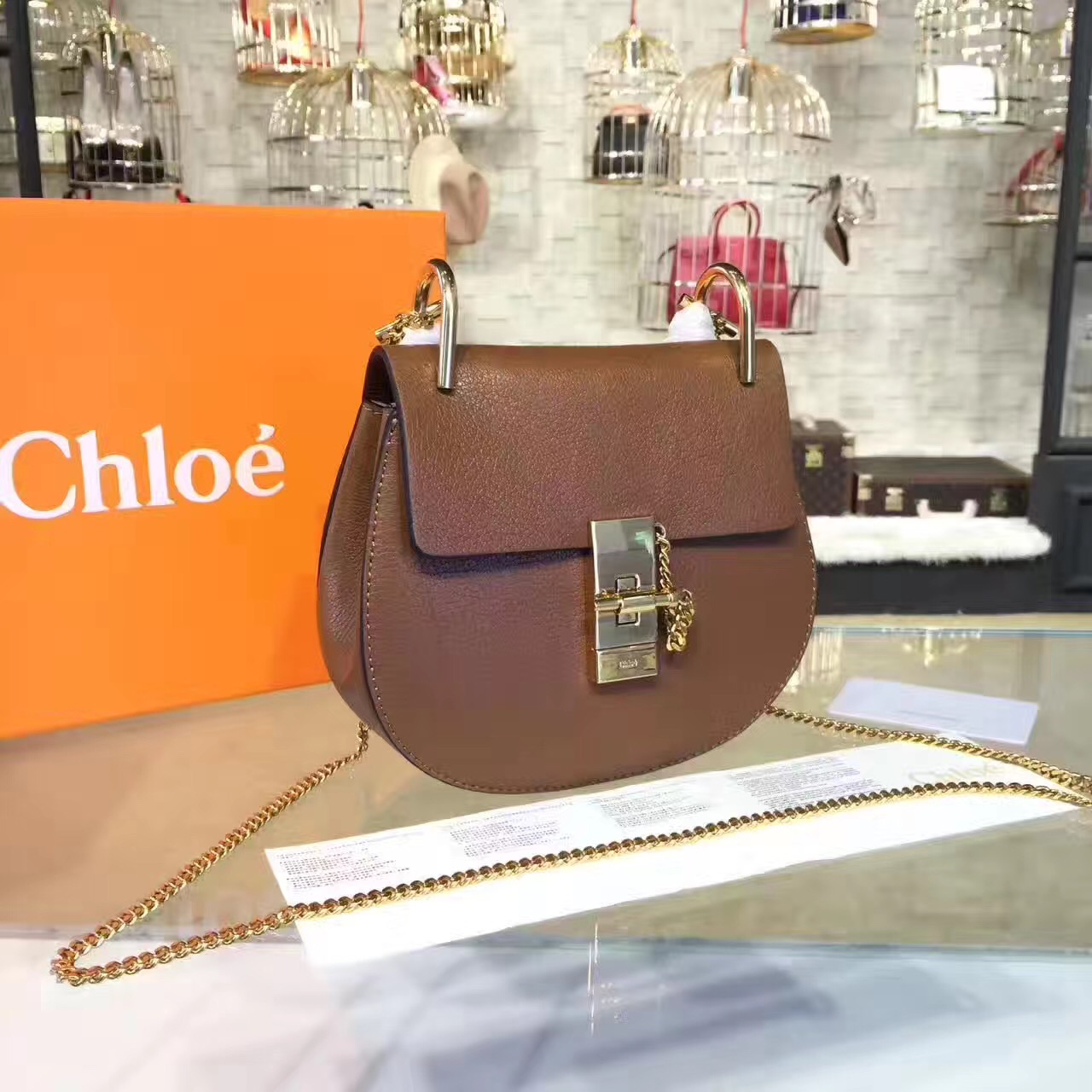 Chloe Drew Crossbody Bag Small 19cm Brown