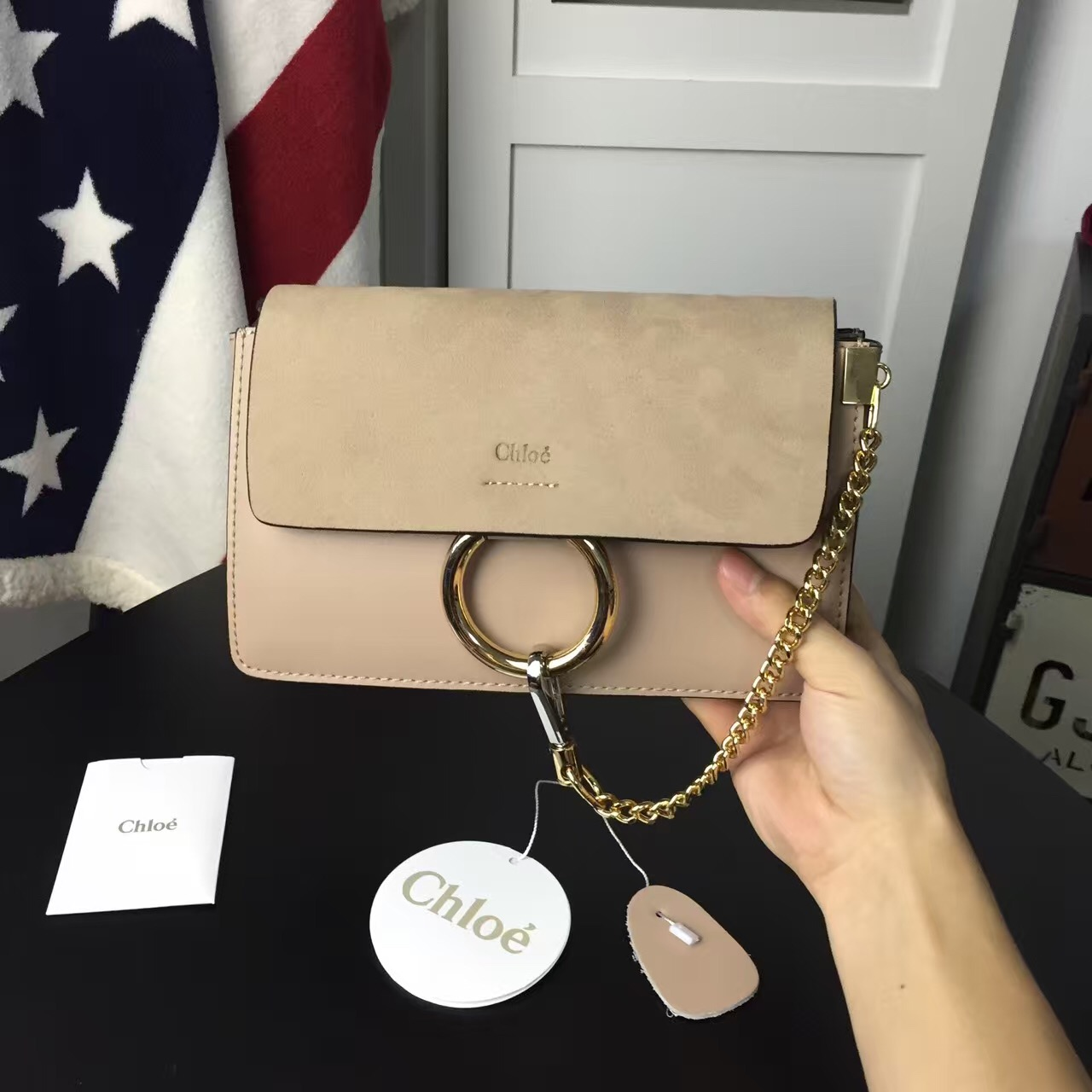 Chloe Faye Small Shoulder Bag Apricot Suede Clutch