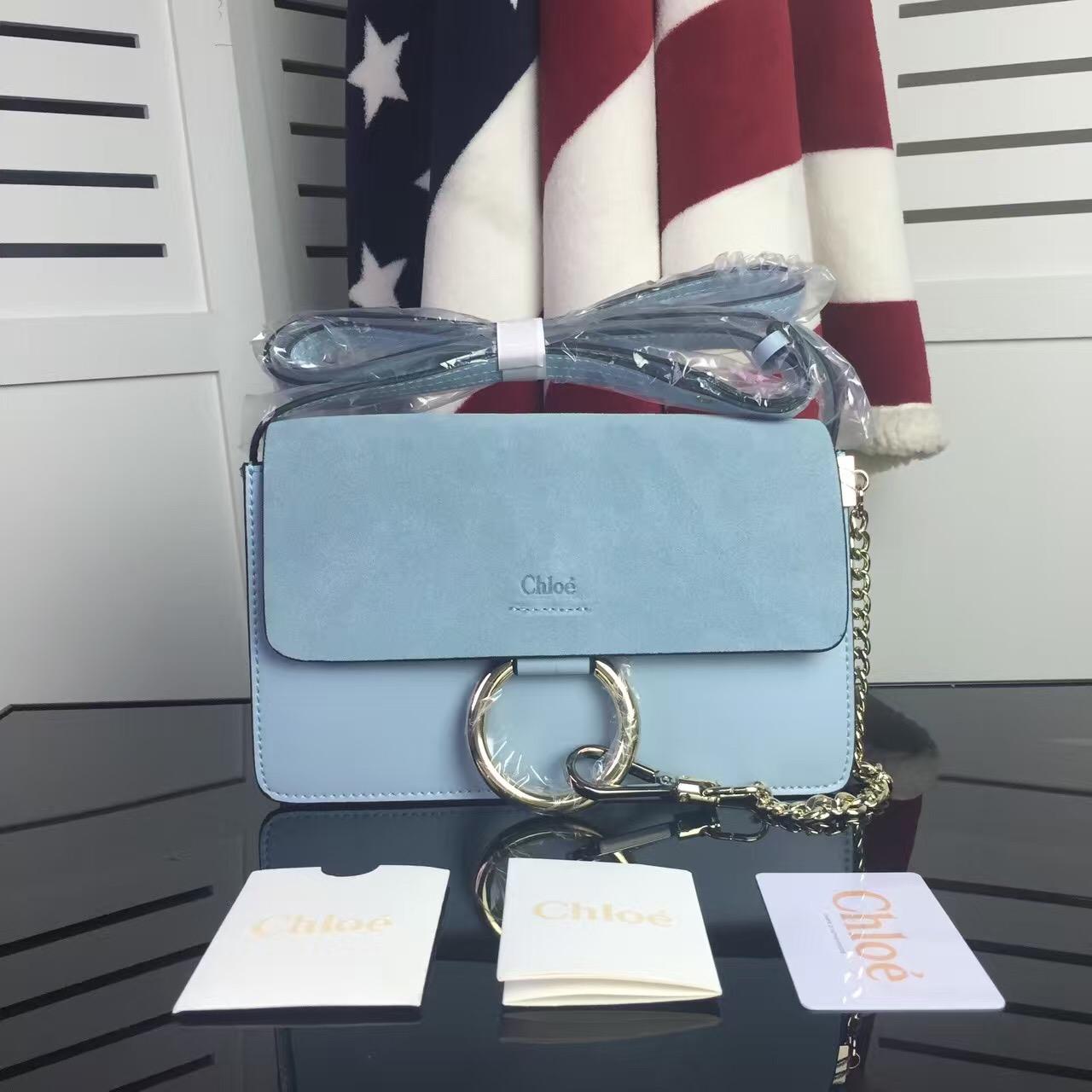 1b7d97f1 Chloe Faye Small Shoulder Bag Blue Suede Clutch [RH0093] : Buy ...