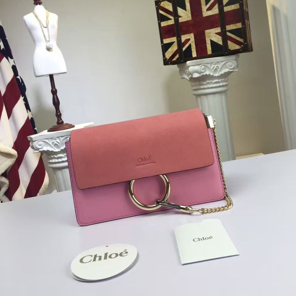 Chloe Faye Small Shoulder Bag Pink Suede Clutch