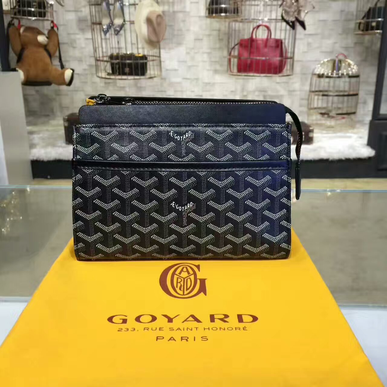 Goyard Cosmetic Bag Black Toiletry Case