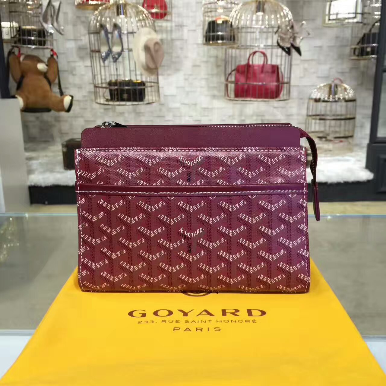 Goyard Cosmetic Bag Burgundy Toiletry Case