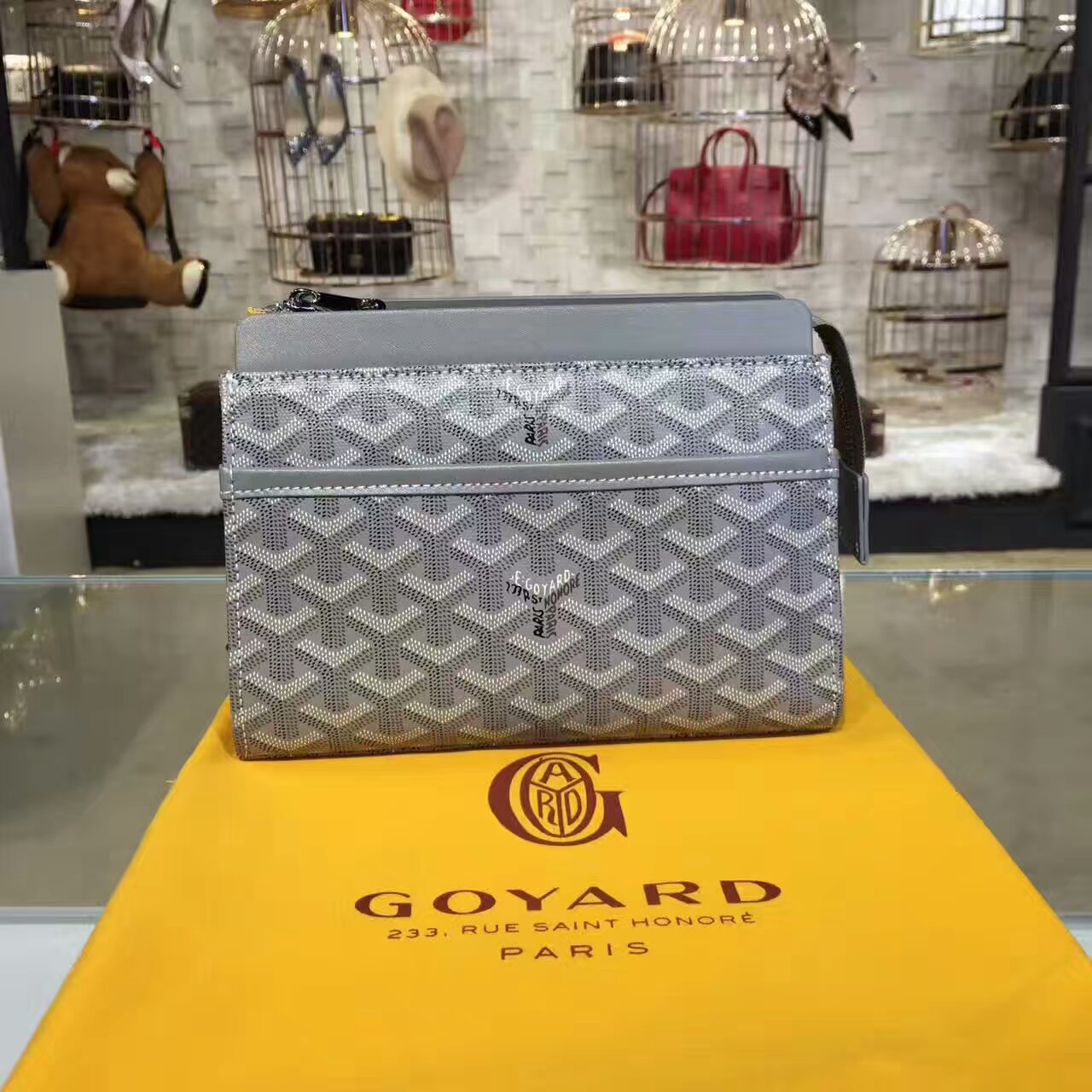 Goyard Cosmetic Bag Light Grey Toiletry Case
