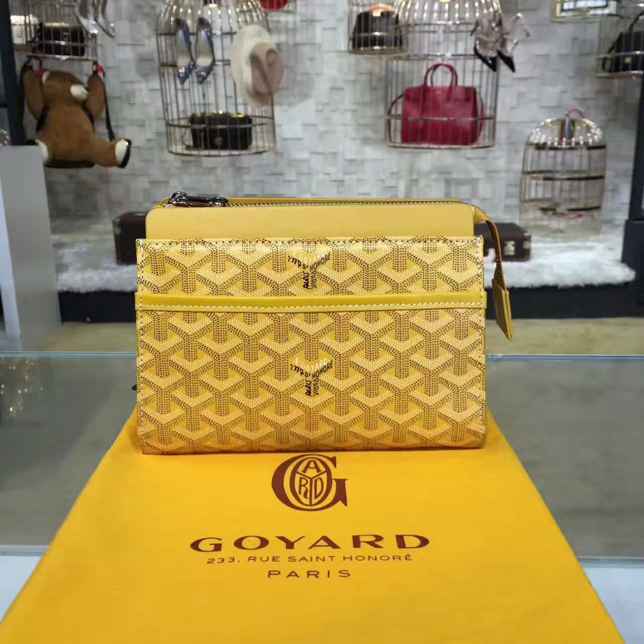 Goyard Cosmetic Bag Yellow Toiletry Case