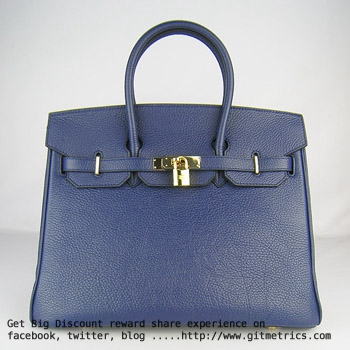 Hermes Birkin 35cm Togo leather Handbags dark blue golden