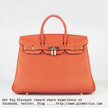 Hermes Birkin 35cm Togo leather Handbags orange golden