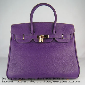 Hermes Birkin 35cm Togo leather Handbags purple golden