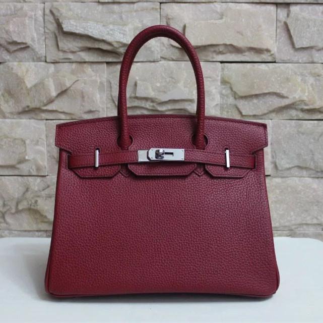 af7dcd06580a Hermes Birkin 30cm Togo leather Handbag burgundy silver  RH0286 ...