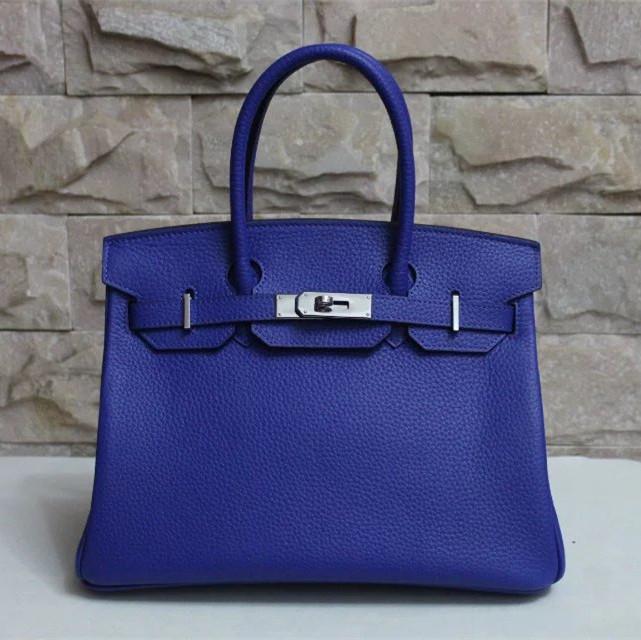 92d5a128b1 Hermes Birkin 30cm Togo leather Handbag electric blue silver  RH0288 ...