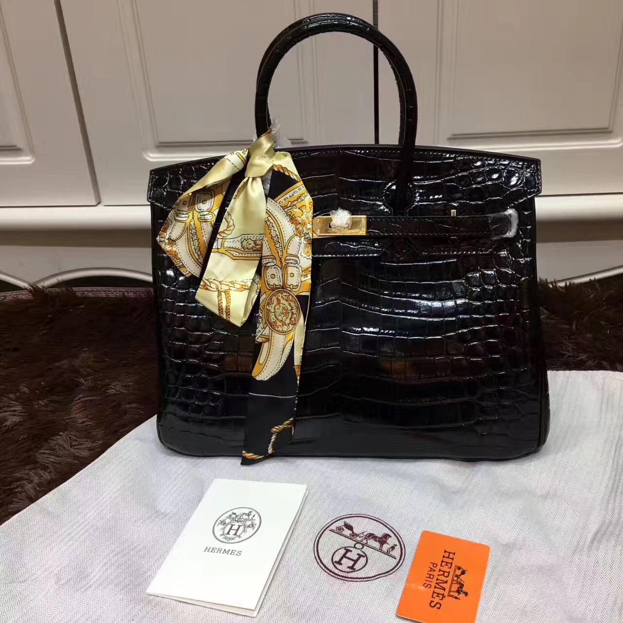 d438cf3e1e Hermes Birkin 35cm Handbag Crocodile Leather Black Gold
