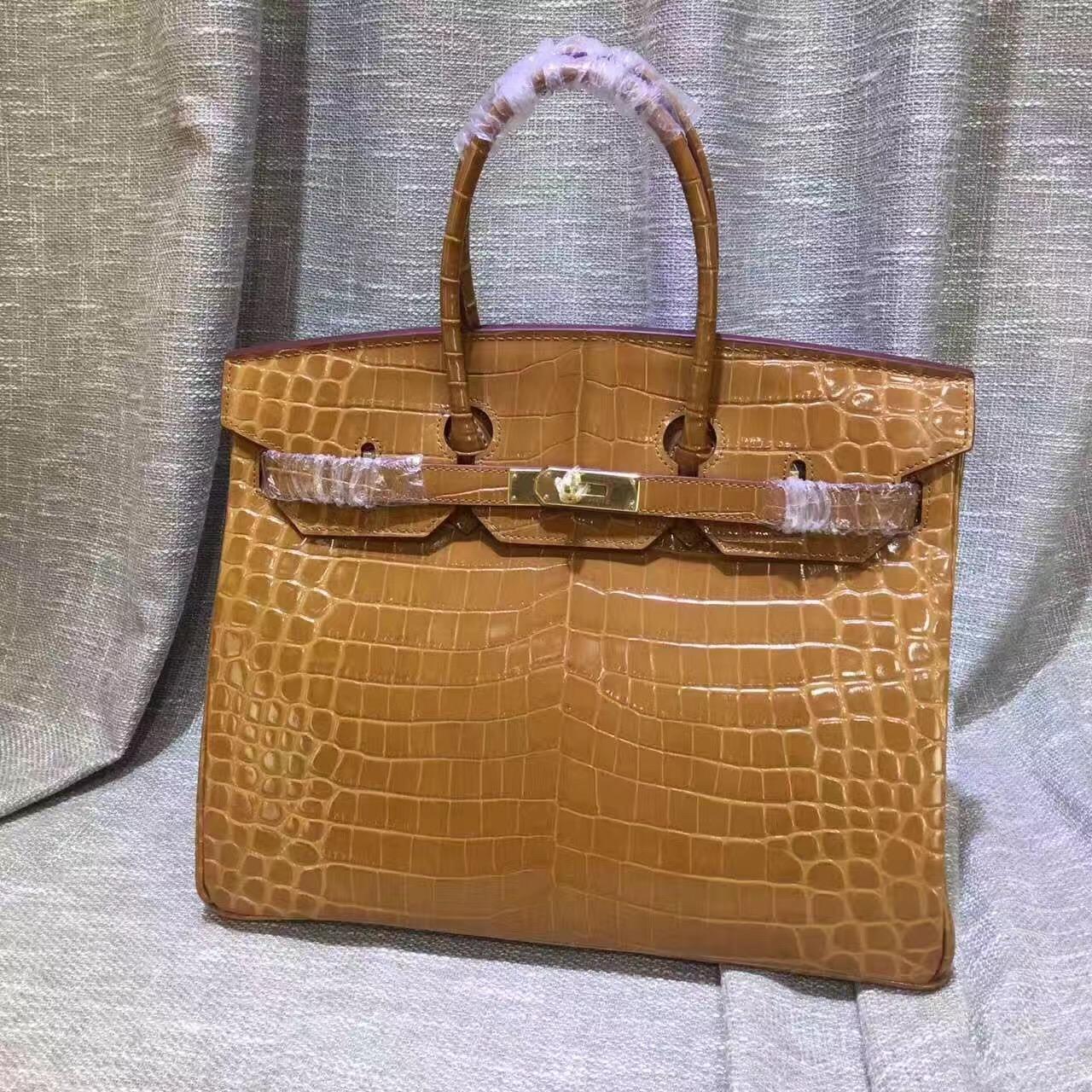 ecb19a4462 Hermes Birkin 35cm Handbag Crocodile Leather Brown Gold